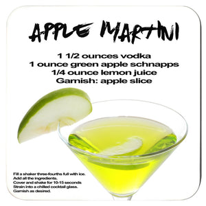 apple martini recipe with image printed on a white coaster