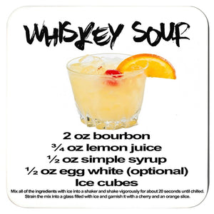 whiskey sour recipe printed on a white coaster