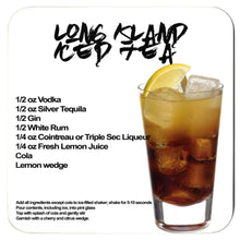 Load image into Gallery viewer, long island iced tea recipe with image of the cocktail printed on a white coaster