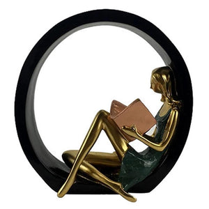 Girl reading a book decorative home decor piece