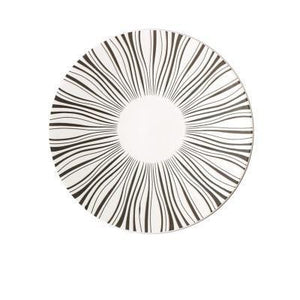 WHITE PLATE WITH BLACK LINES PRINTED ON A DEJAVU DINNERWARE PLATE