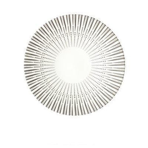 WHITE WITH BLACK LINES PRINTED ON A DEJAVU DINNER PLATE