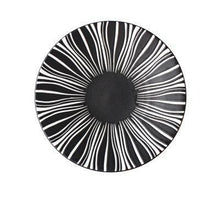 Load image into Gallery viewer, BLACK WITH WHITE LINES PRINTED ON A DEJAVU DINNER PLATE