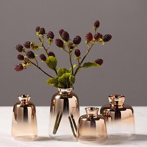 set of 4 elegant rose gold glass vases with flowers