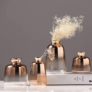 set of 4 elegant rose gold glass vases with decor