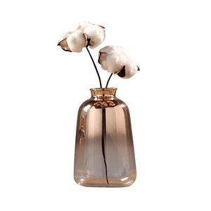 Elegant rose gold glass vase with 2 flowers