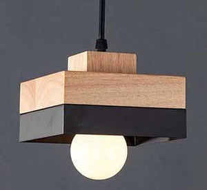 FABY TWO TONE CEILING LIGHT IN BLACK AND WOOD FINISH