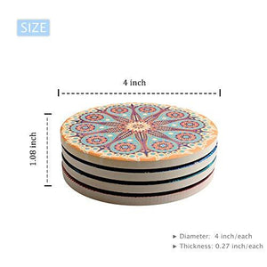 4 funky indian coasters with abstract designs and size specifications
