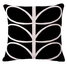 Load image into Gallery viewer, Funky black cushion cover with white abstract leaves