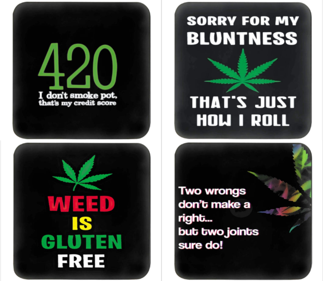 set of 4 cannabis coaster sayings - FunkChez