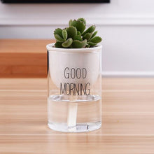 Load image into Gallery viewer, self watering planter with a plant and the words 'good morning' printed on the glass in black