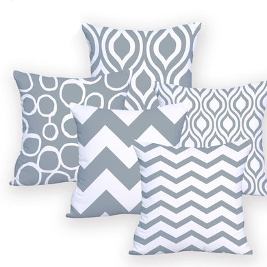 Grey and White cushion covers on cushion pillows