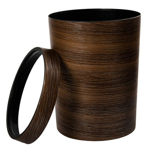 Modern Havana wood finish dustbin with ring lid