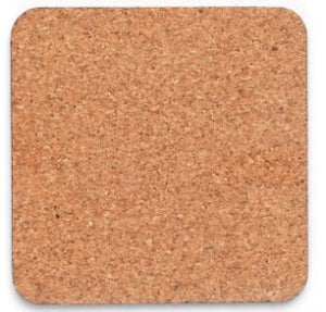 Masonite hardboard coaster with cork backing