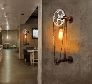 INDUSTRIAL BICYCLE CHAIN LIGHTS DISPLAYED IN A RESTAURANT