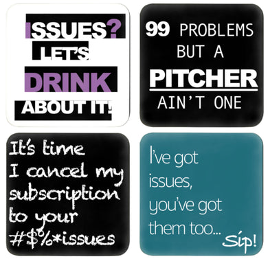 4 coasters on quotes of issues