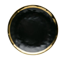 Load image into Gallery viewer, karma dinnerware plate in black with gold lining