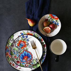 Lilyrose dinnerset with 2 plates, a fork , a bowl of fruits and a cup from FunkChez