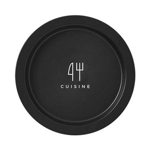Modern Locus Black Designer Plate with Cuisine quote