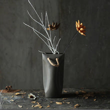 Load image into Gallery viewer, luna dark grey planter pot with artificial stems and yellow flower