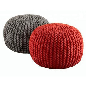 2 MANGY KNITTED POUFS IN GREY AND RED - FUNKCHEZ