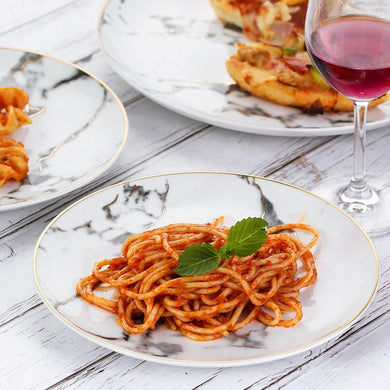 Spaghetti served in the marbella dinnerware plate