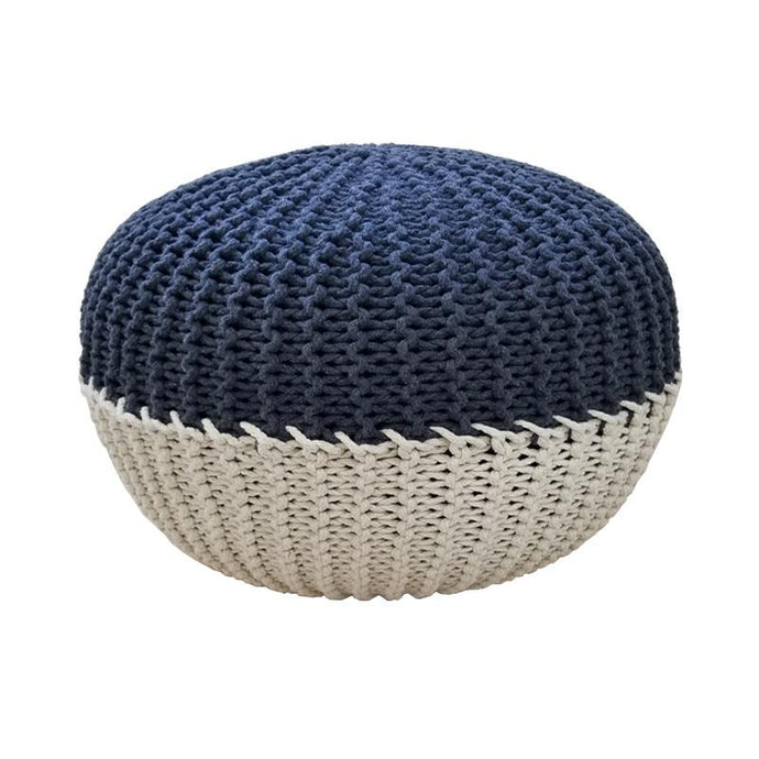 marco navy blue and beige doube colored pouf ottoman - FunkChez