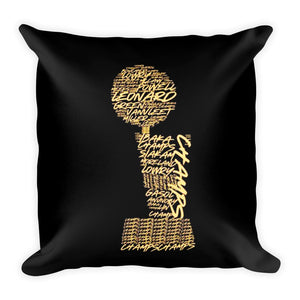 nba trophy champion names printed on a throw pillow -FunkChez