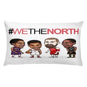 4 players from the raptors and we the north text printed on a cushion pillow FunkChez