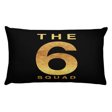 the 6 squad printed in gold on a black cushion - FunkChez