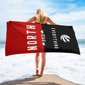 North over everything printed on a beach towel wrapped around a girl -FunkChez