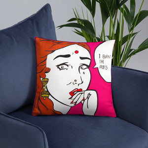 funny design and text of an indian girl throw pillow placed on a couch FunkChez