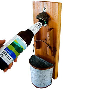Mounted wooden rustic beer bottle opener displaying a beer bottle and a bucket