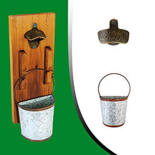 Load image into Gallery viewer, mounted wooden bottle opener with bucket and cheers logo