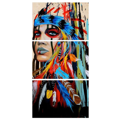 NATIVE AMERICAN GIRL 3 panel painting