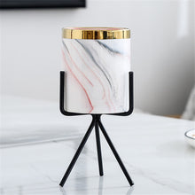 Load image into Gallery viewer, Nordic Coloured Porcelain Marble Style Gold Rimmed Planter