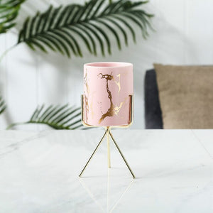 Nordic Gold Infused Porcelain Marble Planter