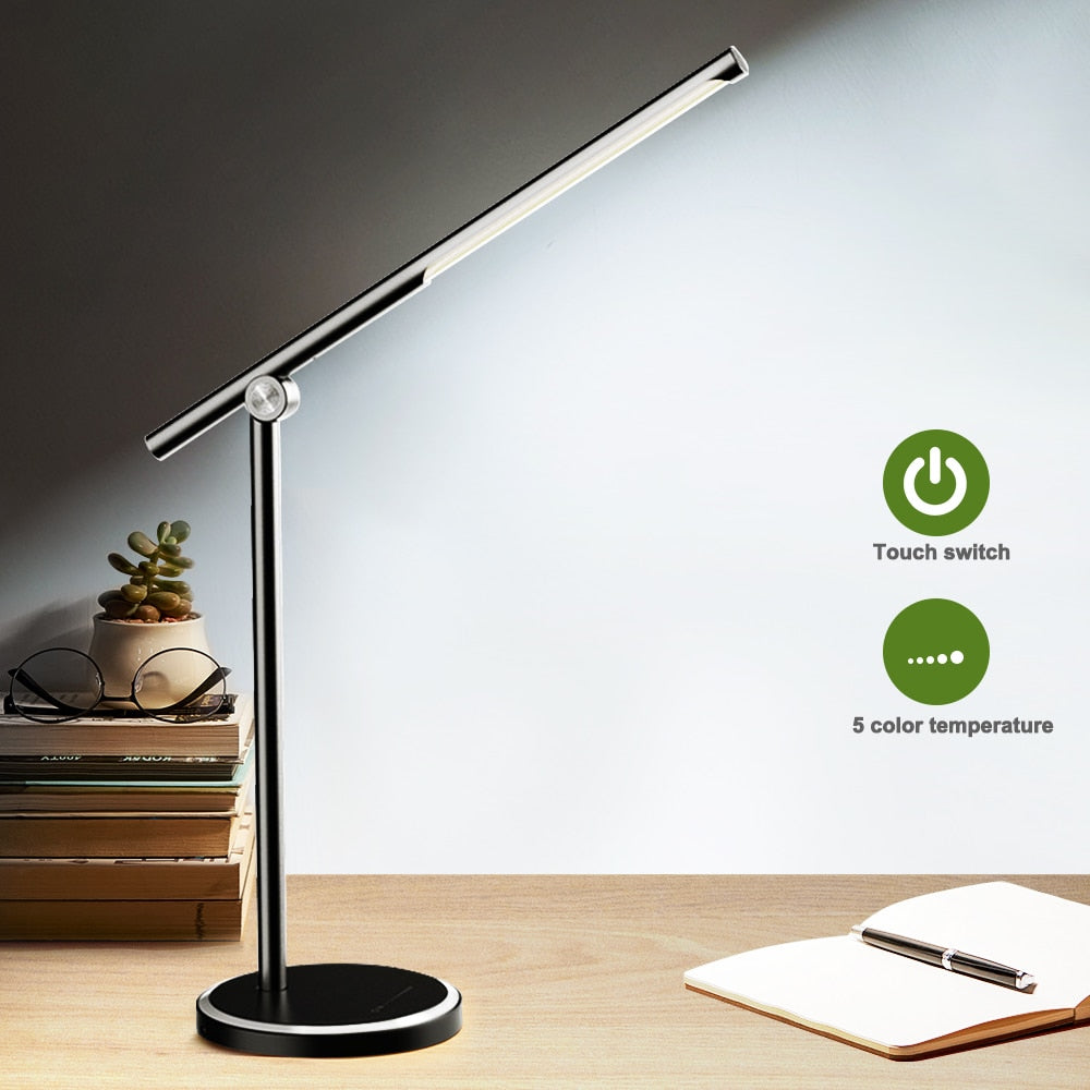 LED Desk Lamp Business Office light Touch Control Eye Protection Light Dimmer USB Charge Led Table Lamp 10W 5 Colors temperature
