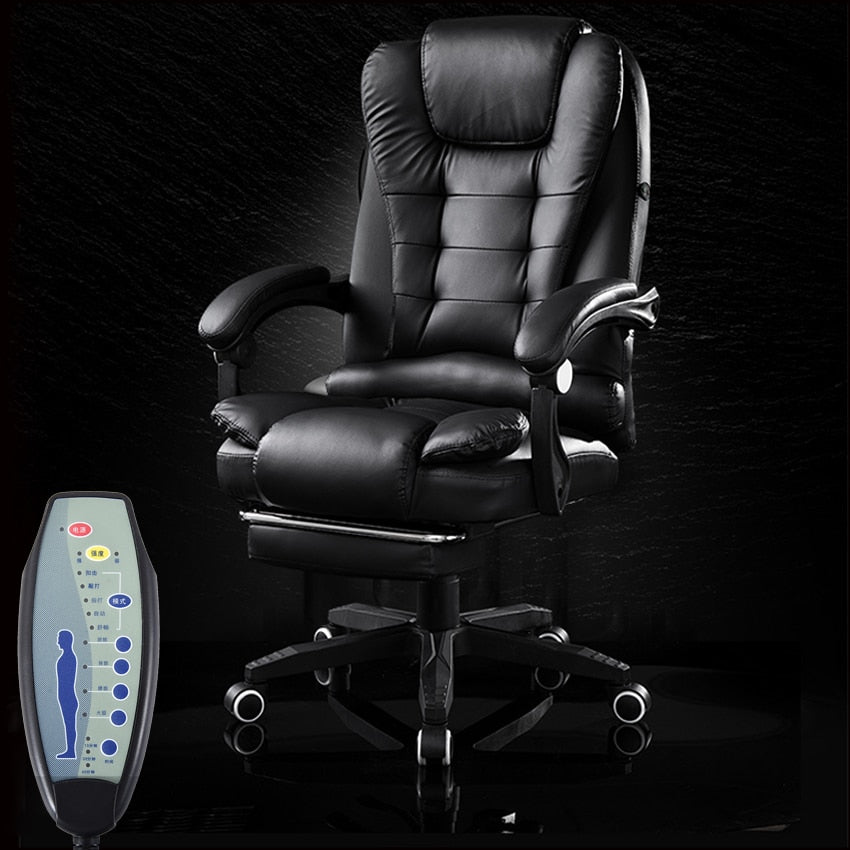 Office Boss Chair PU Leather Rotatable Lift Massage Chair With Footrest Household Reclining Chair Ergonomic Computer Armchair