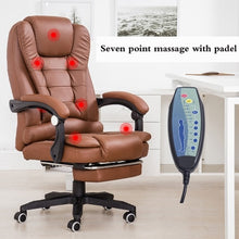 Load image into Gallery viewer, Office Boss Chair PU Leather Rotatable Lift Massage Chair With Footrest Household Reclining Chair Ergonomic Computer Armchair