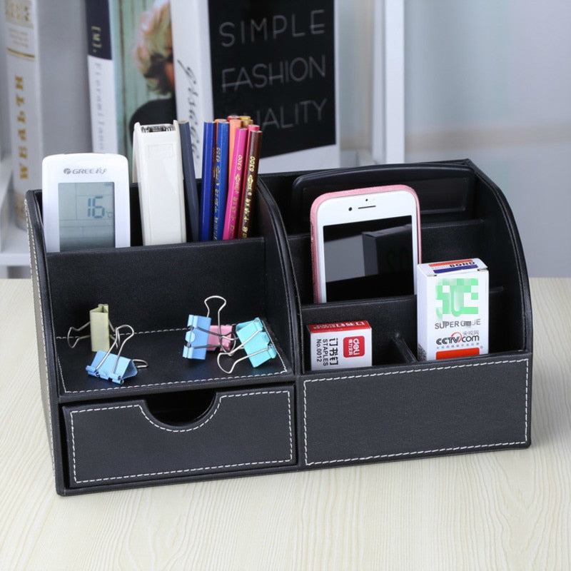 Vintage PU Leather Cosmetic Storage Box Remote Control Phone Holder Desktop Organizer Home Office Sundries Storage Box