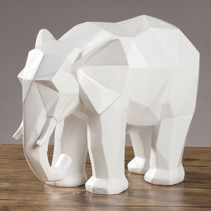 Elephant Statue Abstract Resin Ornaments Black White Geometric Elephant Animal Sculpture Crafts Home Decoration Model Gift