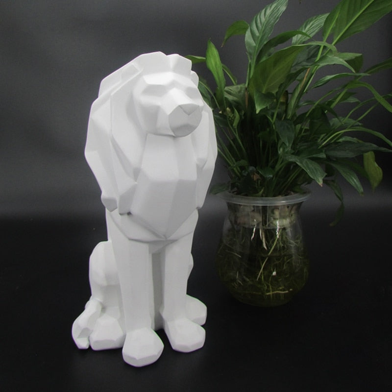 Creative Lion Resin Statue Abstract Black White Lion Animal Power Figurine Sculpture For Home Decorations Attic Ornaments Gifts