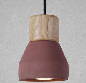 amara pendant light in red and wood finish