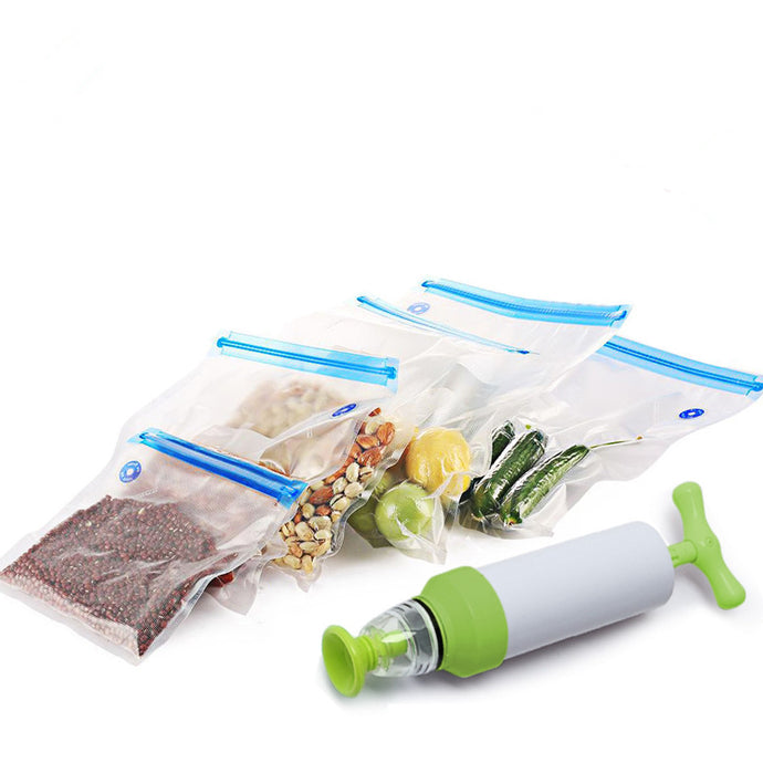 Vacuum bag sealer for food storage including 5 re-usable bags and the pump