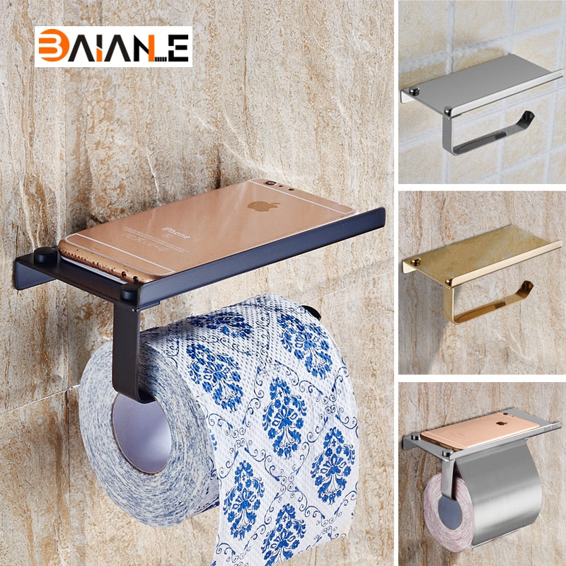 The Loo Ledge: Single Toilet Paper Holder with Phone Shelf - Note: Stainless Steel Construct