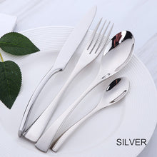 Load image into Gallery viewer, 4 cutlery pieces in silver colour from the nordane cutlery set collection
