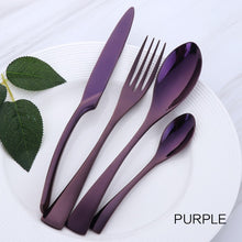 Load image into Gallery viewer, 4 cutlery pieces in purple colour from the nordane cutlery set collection