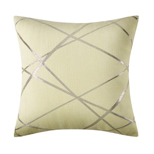 tan colored cushion with gold geometric stripes -FunkChez