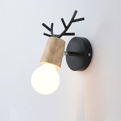 Ahorn wall lamp with black and wood base and bulb FunkChez
